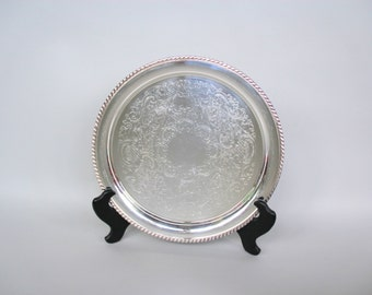 Vintage Round Silverplate Tray