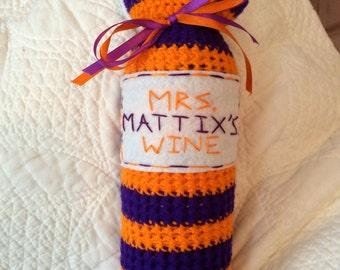 Personalized Crochet Wine Bottle Cozy