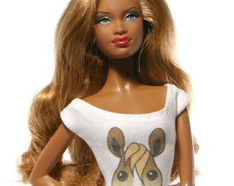 Handmade clothes for Barbie (t-shirt): Horse 02