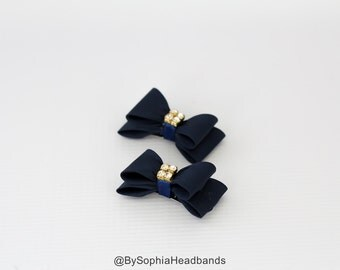 Navy Blue Hair Clip, Bow Hair Clip, Blue Hair Clip, Free SHipping, Girl Hair Clip, Baby Hair Clip, Blue Bow, Navy Blue Bow, 649