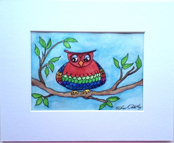 Owls, Watercolor Painting, Original, A Very Retro/Modern Owl Enjoying an Afternoon in the Tree, 5x7, 8x10 Mat, Not a Print