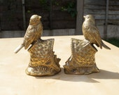 Set of two solid brass bird on the basket sculptures || can be used as a book holder / book shelf hold / book end holder || vintage