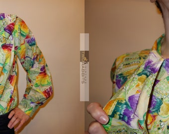 Psychedelic rainbow super colorful L/S secretary blouse with pussybow S-M // ooak teacher career professional conservative modest colorful