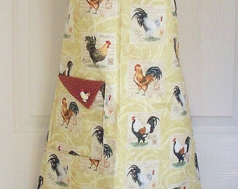 Country Farmhouse Apron , Rooster Motif , Retro Full Apron , Chicken Apron , KitschNStyle
