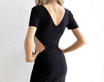 Black cut-out jersey mini dress - #95015