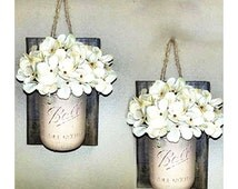 Mason Jar Wall Decor Farmhouse Decor Livingroom Decor Wall Vase