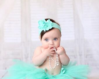Aqua Green Newborn Baby Tutu and Headband Set, Mint Green Tutu Skirts, Birthday Girl Tulle Tutu, New Baby Tutu, Handmade