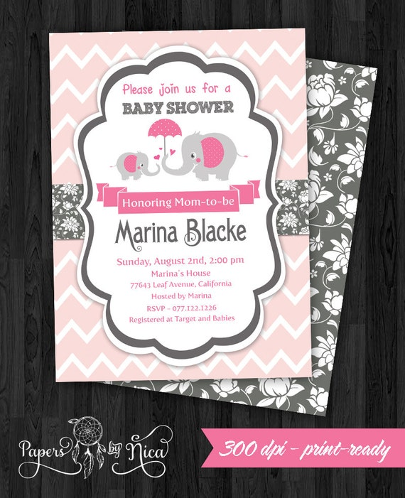 baby shower invitation pink elephant shower invitation elephant