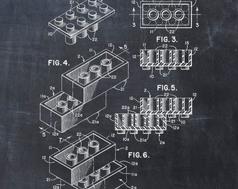 Patent Print of a Lego Toy Building Blocks Patent Art Print Patent Poster