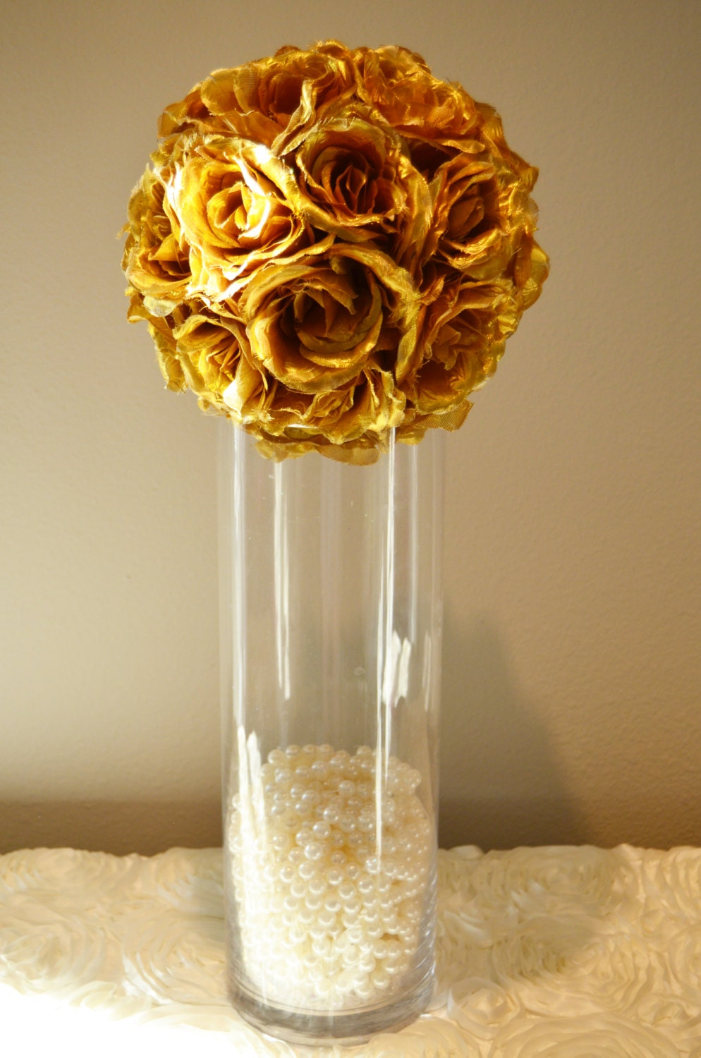 Gold wedding centerpiece flower balls pomanders
