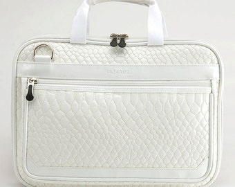 Crocodile 13 Inch MacBook Retina Display Laptop Bag /Laptop Detachable Shoulder Bag / Padded Laptop Bag / Leather Laptop Bag - White
