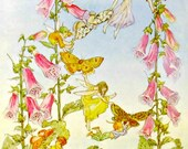 vintage molly brett postcard vintage postcards fairies foxgloves medici society paper collectibles butterflies little mice pink flowers