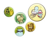 Animal Art Buttons for Children - Study Buddy - Student Gift Teacher Gift Button Pack