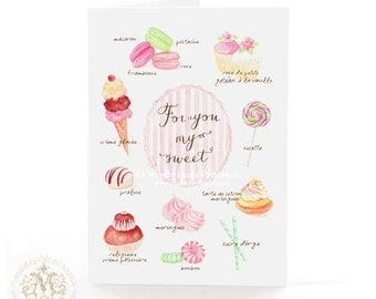 For you my sweet, birthday card, French Patisserie, French bakery, watercolor, watercolour, cake illustration, cupcakes, pink, for her