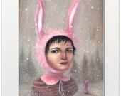 Oil Painting: Snow Bunny