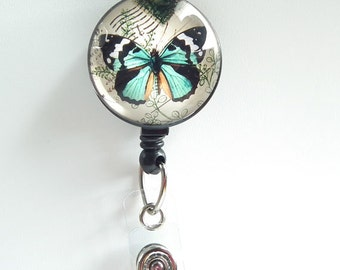 Retractable ID Badge Reel Blue Butterfly on White Background. Black Badge Reel - Belt Clip