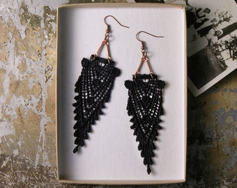black lace earrings // HIPPOLYTA  // art deco earrings / geometric / gatsby / boho chic,  long earrings, lace jewelry, victorian