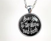 To The Moon (BLK) : Glass Dome Necklace, Pendant or Keychain Key Ring. Gift Present metal round art photo jewelry HomeStudio. Silver ronze
