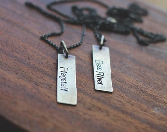 sterling silver rectangle hand stamped tag (your choice of city - made to order) - necklace