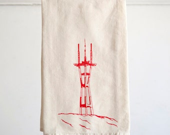 Flour Sack Dish Towel - Sutro Tower design,  Screen Printed in Raspberry Red - San Francisco Bay Area Landmark