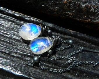 3 DAY SALE rainbow moonstone dangle earrings, ear threaders, gemstone earrings, jewelry for her, Brazilian jewelry