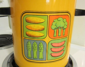 Vintage 1970's Steamer Pot With Inserts Colorful Useful Healthy Cooking With Vintage Kitchenware