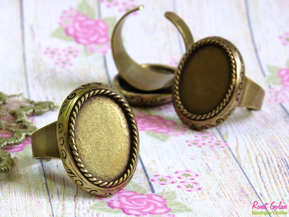 Oval Brass Ring Blank base setting for 13x18mm cab , Adjustable wide band , oxidized rustic finish , Antique Gold Bronze ring bezel vintage