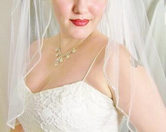 Rhinestone Edge Veil, Elbow Waist Length, Very Soft Tulle, 91 Inches Wide, STUNNING, Crystal Wedding Veil BLUSHER