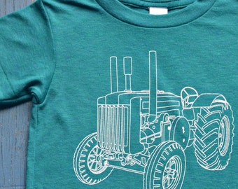 Children - Boys Clothing - Tshirt - Kids Tractor Tshirt - Cool Kids Clothes - Evergreen Tri Blend Track Tee - Gift for Boy