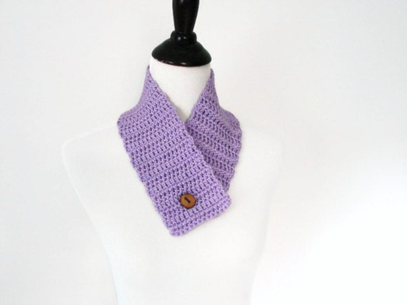 Button Cowl Crochet Neckwarmer Hand Crocheted Scarf Lilac, Lavender - READY TO SHIP, Accessory Winter Gift
