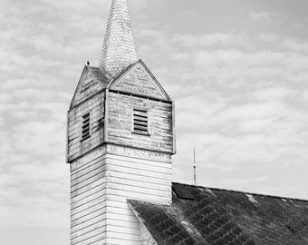Black and White Country Church Photograph, Primitive Rustic Home Decor, Fine Art Photography, Old Church Steeple with Cross Pennsylvania Art