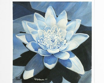 water lily art print watercolor flowers blue and white decor botanical wall art