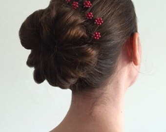 Red Pearl Florettes - Set of 6 Bobby Pins