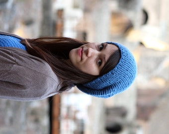 Slouchy Beanie, Womens Knit Slouchy Hat, Hand Knit Hat, Mens Slouchy Hat, Teen Hat, Fall Winter Accessories, Blue