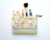 Patch of Fleurs Cosmetic Pouch, Watercolor Flowers Pouch, Floral Pouch, Makeup Bag, Designer Fabric on Pouch