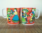 Pair of Vintage Nasco Mexican Fiesta Children's Mugs