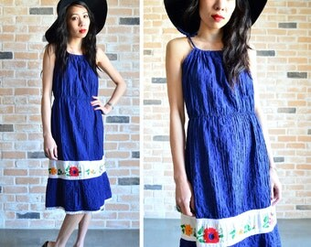 60s summer sun dress - retro pleated floral ethnic embroidered midi dress - small S medium M