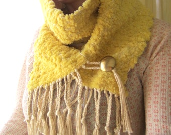 Yellow Hand Woven Scarf, Chunky Scarf, Winter Scarf, Sunshine Yellow Fuzzy and Warm with Brass Button Scarf, Christmas Gifts for Her