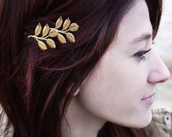 Branch Bobby Pin Gold Leaf Hair Pin Nature Hair Accessories Woodland Wedding Raw Brass Leaves Bridal Hair Bridesmaids Gift For Her Women