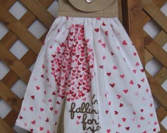 "Kitchen Tea Towel Valentine Kitchen Dish Towel Anniversary Love Hearts ""I'm Falling for You"" SnowNoseCrafts"