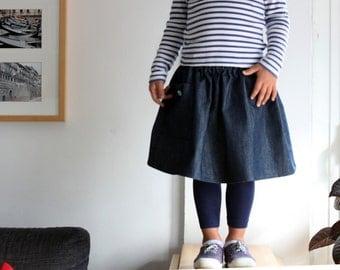 Girl's skirt, girls denim skirt, full skirt, toddlers skirt, full skirt. Japanese style clothing, kids. Sustainable clothing, made in Italy