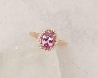 Raspberry Pink Spinel 14k Rose Gold Diamond Halo Gemstone Engagement Ring Wedding Anniversary Sapphire Alternative