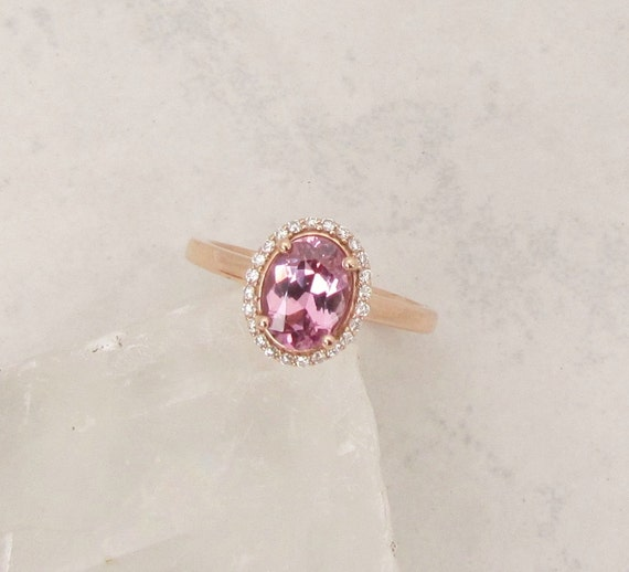 Raspberry Pink Spinel 14k Rose Gold Diamond Halo Gemstone Ring
