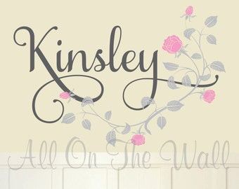Wall Decals Nursery Baby Girl Name Roses Vine Vinyl Lettering Wall Stickers Flowers Bloom Decals For Girls Vinyl Decals