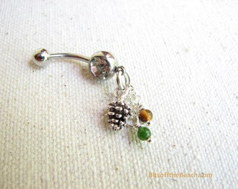 Pine Cone Belly Ring, Jade and Tiger Eye Navel Ring, Jewelry for Fall, Dangle Belly Button Jewelry, Belly Piercing