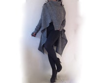 Wool Poncho Coat/ Winter Womens Cape Coat / Stylish Winter Coat with Scarf Neck from Blended Italian Wool