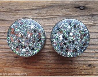 Silver Stars of Sirius Glitter Plugs -  0g, 00g, 7/16, 1/2, 9/16, 5/8, 3/4, 7/8, 1 Inch