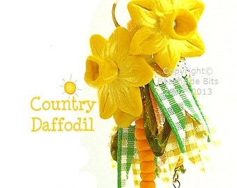 COUNTRY DAFFODIL, Artist Flower Earrings, Sterling Silver, Long, Colourful, Light and Luscious, Ribbon, Australian Made