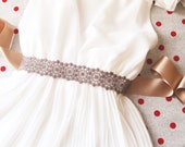 Brown Embroidery Lace Flower Beads Sash Belt - Wedding Dress Sashes Belts - Fossil Coffee Golden Latte