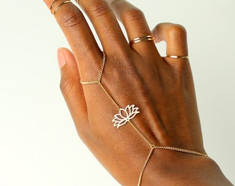 Awaken Lotus Boho Bracelet, gold slave bracelet, gold slave chain, hand slave bracelet, slave bracelet, gold hand chain, boho bracelet